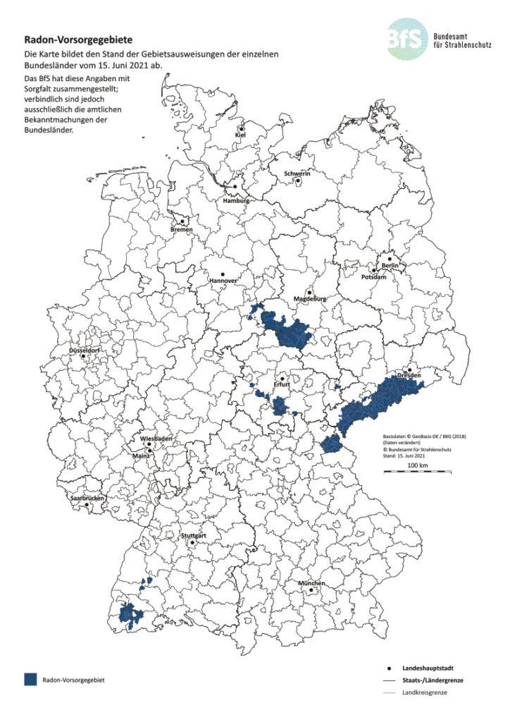 Übersichtskarte der Radon-Vorsorgegebiete in Deutschland